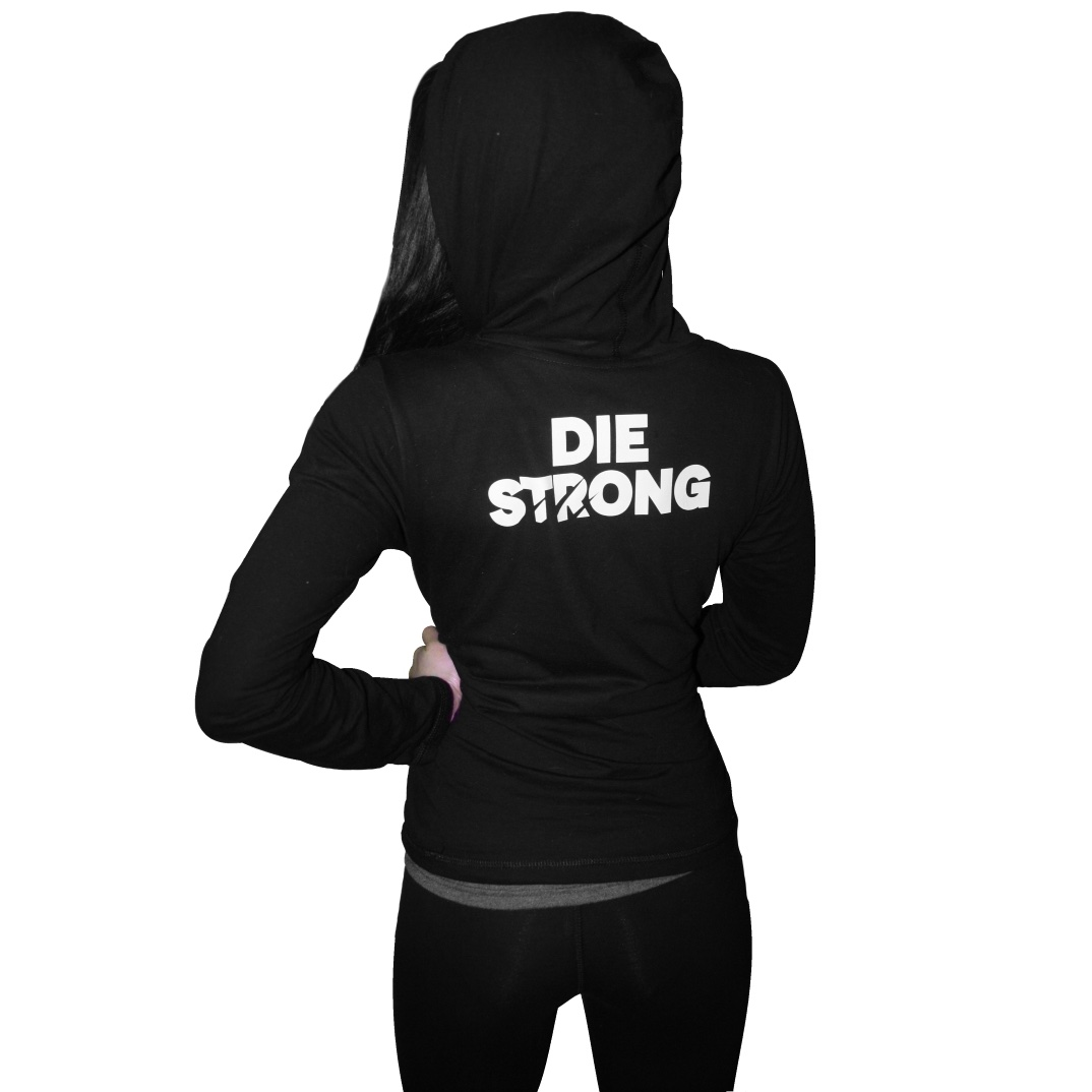Motivational Gym Wear. Die strong womens hoody.